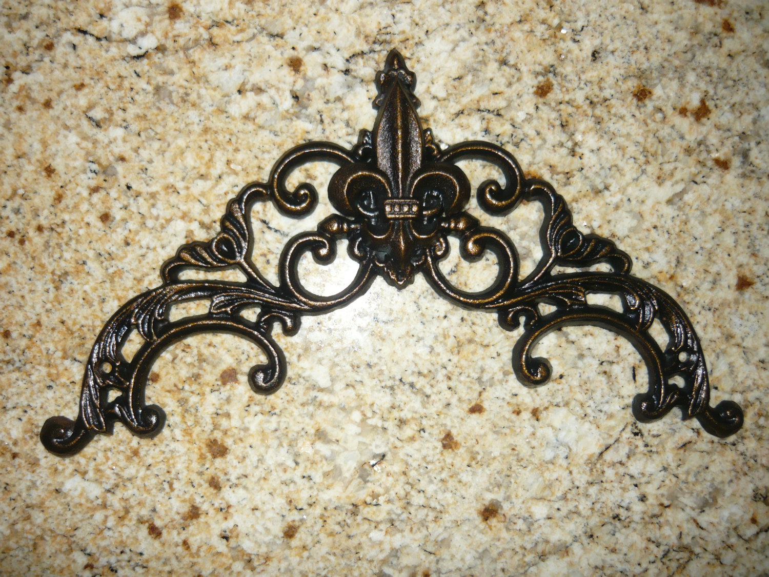 Iron fleur de lis topper valance wall plaque old world french country med - Plaque de decoration ...