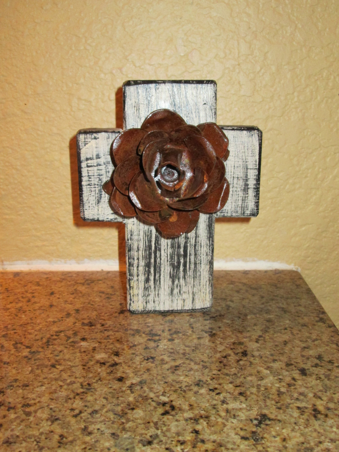 Elegant Iron Wall Decor : Wall wood cross with iron rusty rose antique white color