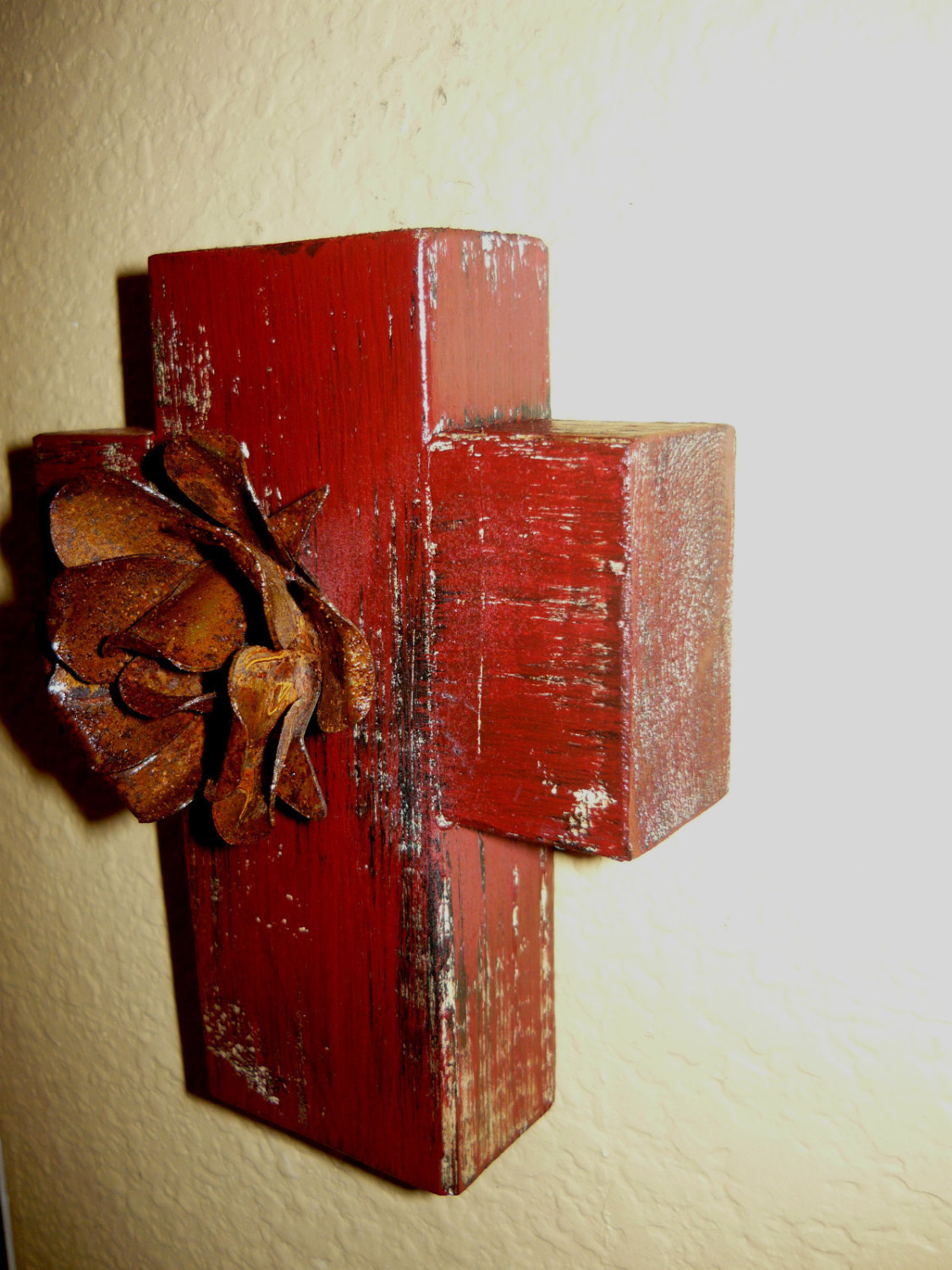 Elegant Iron Wall Decor : Wall wood cross with iron rusty rose original rustic