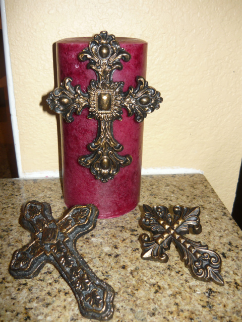 Set Of 3 Cross Candle Accent Pins Old World Medieval