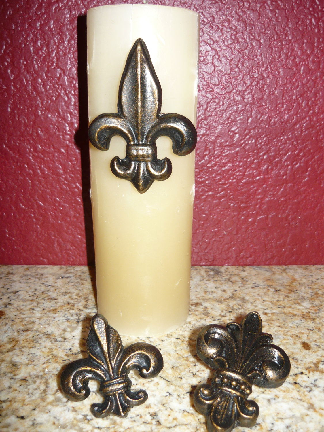 SET of 3 Fleur de Lis Candle Accent Pins / Old World Medieval Tuscan ...